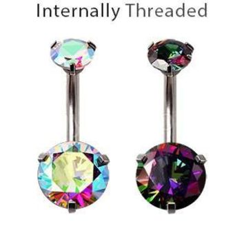 Internally Threaded 316L Stainless Steel Prong Set Iridescent Cubic Navel Ring