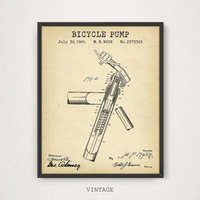 Bicycle Pump Patent Artwork, Bicycle Poster, Digital Download, Bicycle Print, Bike Wall Art, Bike Pump Illustration, Printable Blueprint Art
