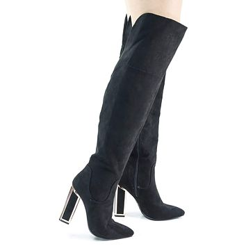 Illusion03 Faux Suede Over Knee Thigh High Metal Frame Chunky Block Heel w Faux Fur Lining