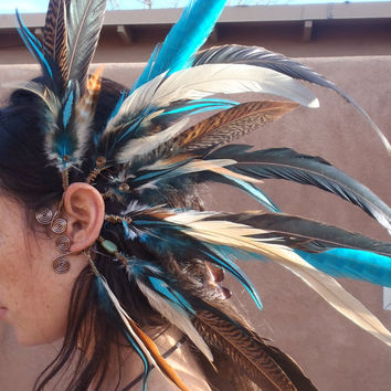 wild and free...SET of two. Large festival feather earcuffs. Custom colors  //  festival, headdress, costume, ear cuff