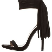 Black Fringe Single Sole Ankle Strap Heels by Charlotte Russe