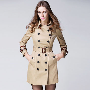 2016 Fashion Women's trench luxurious Mi-long Wind Coat with lapel belt buckle B Famous Brand Coat Anti Wrinkle classic outfit