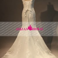 RW173 Lace Wedding Dress Mermaid V Neck Bridal Dress White Bridal Gown Long Wedding Gown Summer Dress Women