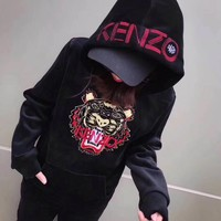 """Kenzo"" Women Fashion Casual Velvet Embroidery Tiger Head Letter Pattern Long Sleeve Hooded Sweater Trousers Set Two-Piece Sportswear"