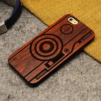 Retro Camera Nature Wood/Wooden Case for Apple iPhone 5 5s 6 6s 6 Plus 6s Plus