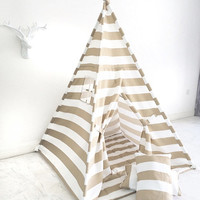 Handmade Children's Teepee Play Tent for Kids in Tan and White Stripe Canvas. Each Comes with Padded Mat Base and