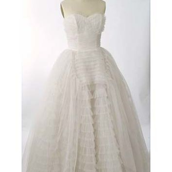 Vintage Wedding Gowns-50s Strapless Tulle Wedding Ball Gown