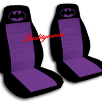 2 Front Black and Hot Pink Velvet Seat Covers Universal Size