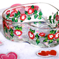 Valentine's Day Red Flowered Candy Dish