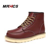MRCCS Brand Spring/Autumn Fashion Boots For Men,Ankle High Work Boots,Martin Style Leather Tooling Shoes Casual Brand