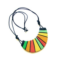 Neon geometric green-red-tangerine-yellow polymer clay bib necklace, Cheshire Cat Grin Necklace, spring-summer colors, fashion necklace