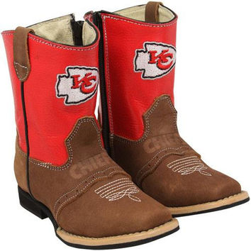 Kansas City Chiefs Toddler Quarterback Roper Cowboy Boots - Brown/Red - http://www.shareasale.com/m-pr.cfm?merchantID=40295&userID=1042934&productID=536893319
