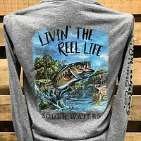 Backwoods South Waters Livin' the Reel Life Fish Fishing Long Sleeves Bright Unisex T Shirt