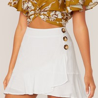 Button Detail Wrap Ruffle Hem Skirt