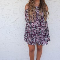Honolulu Long Bell Sleeve Purple Floral Dress