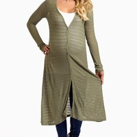Olive Button Up Long Knit Maternity Cardigan