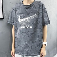 NIKE Summer New Fashion Letter Hook Print Women Men Top T-Shirt Gray