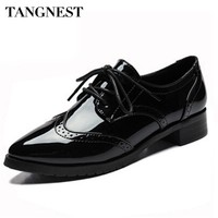 Tangnest Women's Pointed Toe Classic Brogue Oxford Shoes