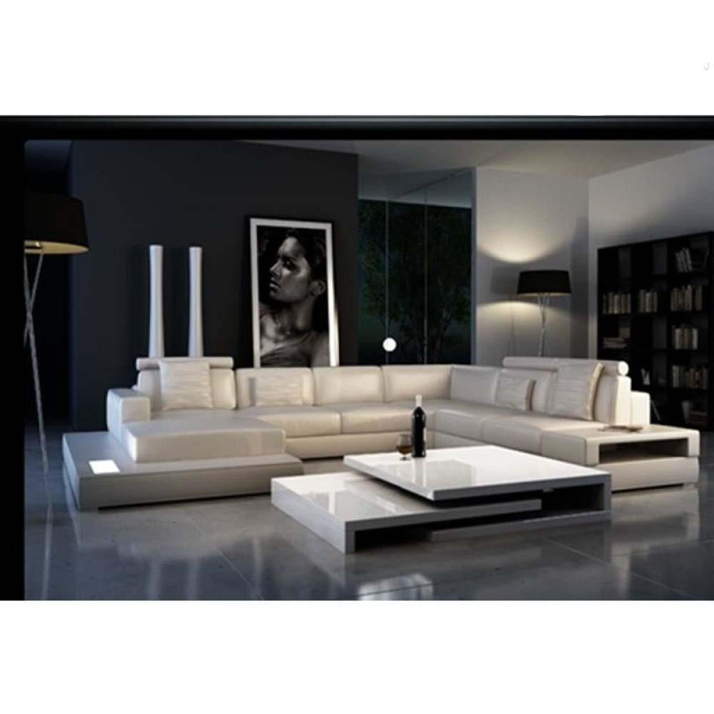 Image of Prescott Fusion Glossy Leather Sectional Sofa Set