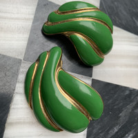 Big Bold Kelly Green Art Deco Swirl Statement Earrings, Right from Grandmas Jewelry Box