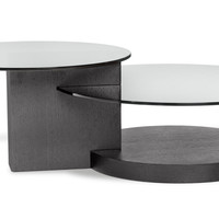 Dakota Black Coffee Table with Glass Shelving | Modern & Contemporary Coffee Tables | zurifurniture.com