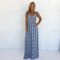 In Motion Maxi Dress In Blue