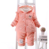 New Baby Girl Outfit Winter THICKNESS TWO PIECES Print coat and pants Baby Clothes Baby Girl Clothing 6GST049