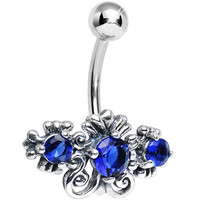 925 Silver Blue CZ Scrolled Flowers Belly Ring | Body Candy Body Jewelry