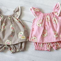 Baby girl clothes,pink or brown baby set clothes, sweet rose baby girl top and bloomer set
