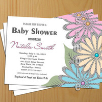 Baby Shower Invitations Boy Girl Printable -FREE Thank You card included, Baby Shower Invite flowers