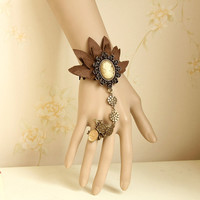 Gothic Art Vintage Black Lace Craft Embroidery Brown Leaf Bracelet Cuff with Ring Chain Attach for Dancing Party WS-101
