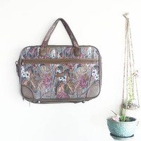 FLORAL Weekender Bag- Vintage Tapestry Fabric- Boho- Hippie- Gypsy- Bohemian- Chic- Travel Carry On Tote- Overnight Luggage- Laptop Bag