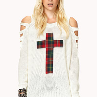 FOREVER 21 Grunge Plaid Cross Sweater Cream/Red Large