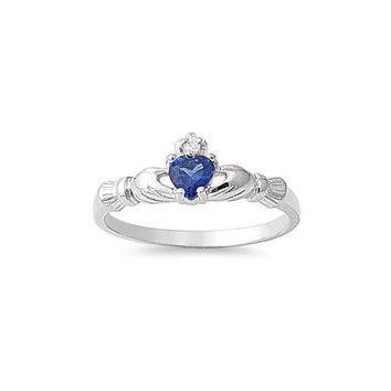 Sterling Silver Children's Small Sapphire Blue (September) CZ Heart Claddagh Ring