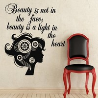 Wall Decals Quote Beauty Is Not In The Face Girl Curler Decal Vinyl Sticker Home Art Bedroom Home Decor Beauty Salon Ms245