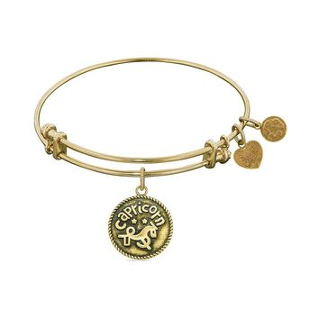 Smooth Finish Brass Capricorn December Angelica Bracelet, 7.25""