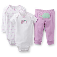 """Carter's Girls 3 Piece """"I Am Loved"""" Purple Turtle Set with Short Sleeve Bodysuit, Long Sleeve Bodysuit, and Pant Set"""