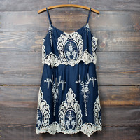 a hint of vintage lace navy & cream dress