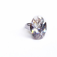 Clear Cubic Zirconia Large Cocktail Ring in Sterling Silver // large imitation diamond engagement ring jewelry, CZ ring, size 5, 6, 7, 8