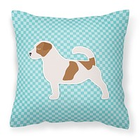 Jack Russell Terrier  Checkerboard Blue Fabric Decorative Pillow BB3707PW1414
