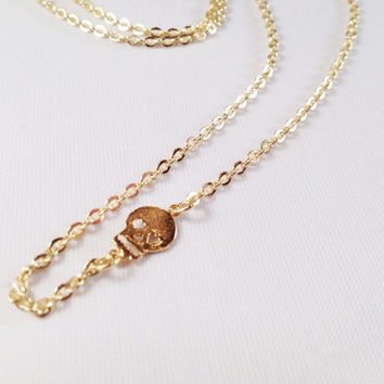 18K Gold Plated Skull Necklace