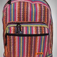 Pink & Green Striped Hippie Backpack