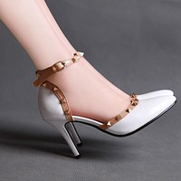 Ankle Straps Sandals Studded Women Pumps High Heels Spike Shoes Woman 3586