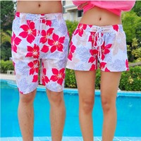 Flora Pattern Beach Holiday Shorts for Couple