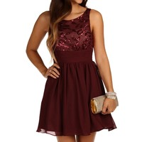 Sale- Burgundy Swirl Sequin Dress