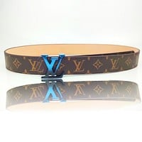 Onewel Louis Vuitton Trending Man Women Belt Contrast Gradient Buckle Belt Coffee LV Print Blue Buckle