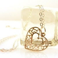 """Sterling Silver Filigree Heart Necklace 18"""" Long Chain"""