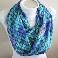 Mermaid Scarf Mermaid Scales Infinity Scarf Mermaid Tail Under The Sea Party Fish Scale Mermaid Birthday Gift For Her Women Accessories