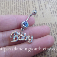 Baby Charm Belly Button Ring, Crystal Belly Ring,