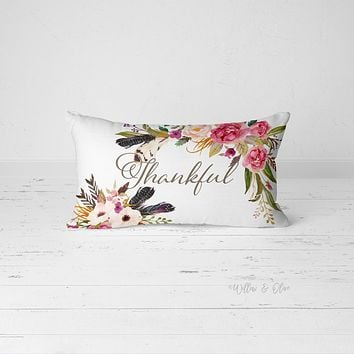 Decorative Lumbar Throw Pillow - Thankful Florals & Feathers